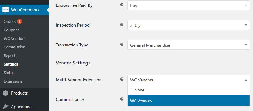 WooCommerce settings