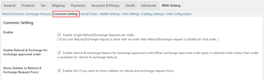 common refund exchange settings