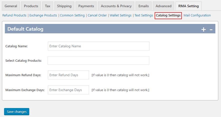 Catalog settings